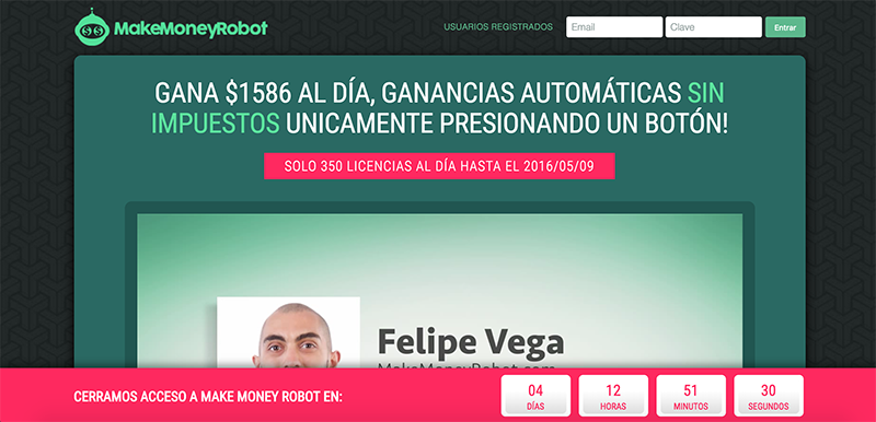 Sitio web Make Money Robot