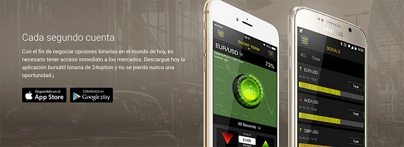 Aplicaciones android y iphone para 24 Option