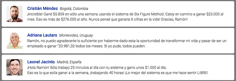 Testimonios del software 6 figure method