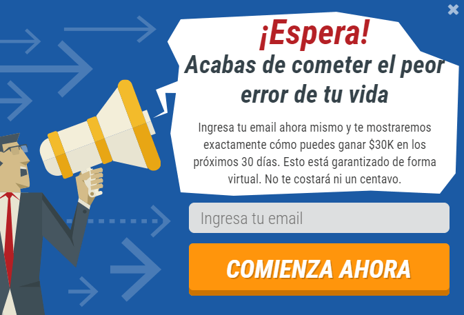 Pop-up para introducir el email