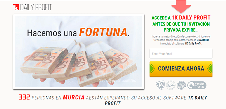 acceso a plataforma de trading 1k Daily Profit