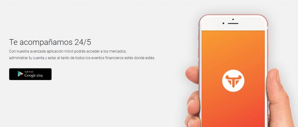 La app movil del broker Tradear