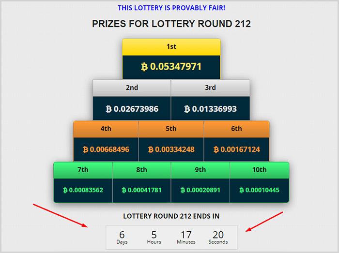Premios y contador de tiempo de la lotería de este faucet