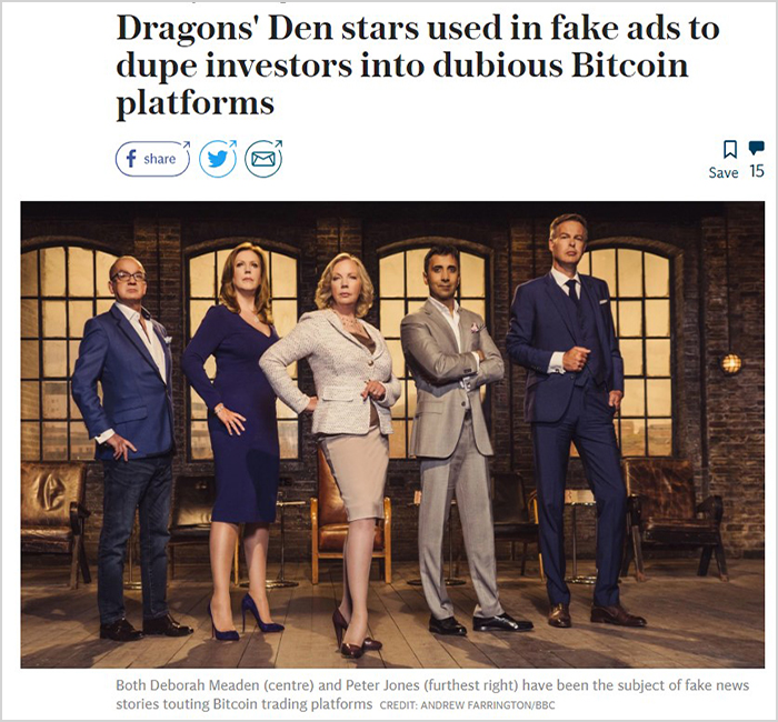 Bitcoin era crea una fake new sobre el programa dragons den