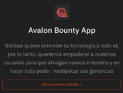 funcionamiento de avalon bounty app - Nimbus Platform